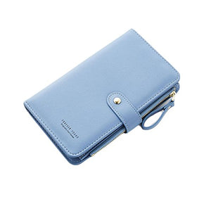 Travel Wallet Passport Holder Smartphone Pocket Leather Handbag Large Capacity Card Case Flip Layer Zipper Pockets Blue
