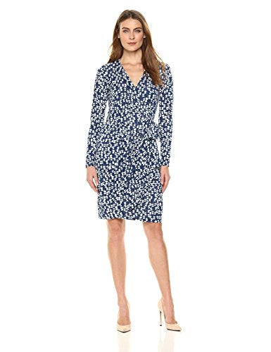 Lark & Ro Women's Classic Long Sleeve Wrap Dress, Mini Floral, Medium