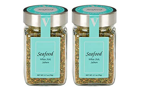 Seafood Seasoning - 2 Pack. Includes chives, thyme, oregano and lemon, accented with onion and bell pepper. Delicious in all fish and seafood recipes. VICTORIA TAYLOR'S BY VICTORIA GOURMET.