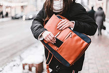 Load image into Gallery viewer, P.MAI 15-Inch Professional Leather Laptop Backpack for Women with Wristlet I Stylish Designer Computer Backpack Purse Ideal for Executives, Business, Travel, Work, Commuter | Cognac