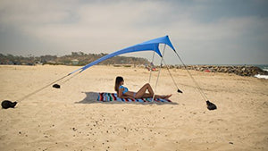 Neso Tents Beach Tent with Sand Anchor, Portable Canopy Sunshade - 7' x 7' - Patented Reinforced Corners(Periwinkle Blue)