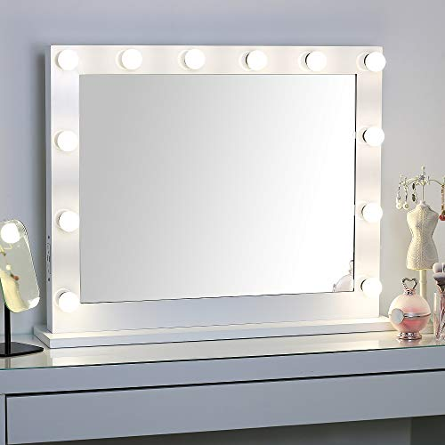 Large Hollywood Vanity Mirror with Lights,Lighted Standing or Wall Makeup Mirror,Side-Mounted Power Outlet USB Port and Dimmer