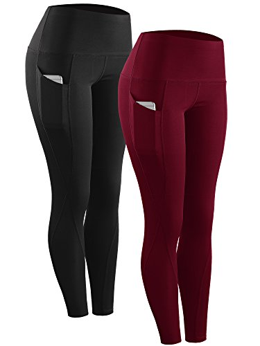 Neleus 2 Pack Tummy Control High Waist Running Workout Leggings,9017,Black,Red,US L,EU XL