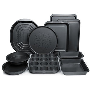 ChefLand 10-Pc. Nonstick Bakeware Set | Chef's Baking Sheets, Baking Pans, Roasting Pan, Pizza Pan, Crisper Pan, Cake Pans & More| Durable Carbon Steel Baking Set | Prime Housewarming & Wedding Gift
