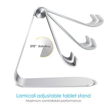 Load image into Gallery viewer, Tablet Stand Adjustable, Lamicall Tablet Stand : Desktop Stand Holder Dock Compatible with Tablet Such as iPad 2018 Pro 9.7, 10.5, Air Mini 4 3 2, Kindle, Nexus, Tab, E-Reader (4-13'') - Silver