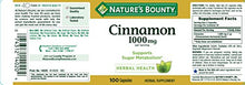 Load image into Gallery viewer, Nature's Bounty Cinnamon Pills and Herbal Health Supplement, Promotes Sugar Metabolism and Heart Health, 1000mg, 100 Capsules, 3 Pack