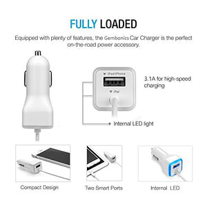iPhone Car Charger, [Apple MFI Certified] Lighting Car Charger for iPhone X, XR, XS, 8, 8 Plus, 7, 7 Plus 6S / 6S Plus, 6 Plus, SE, 5S, iPad Pro, Air 2, Mini 4 with Extra USB Port