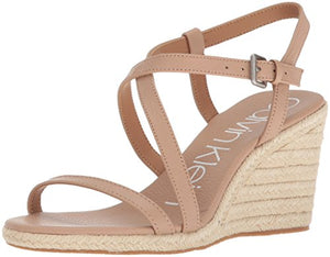 Calvin Klein Women's Bellemine Espadrille Wedge Sandal, Desert Sand, 6 Medium US