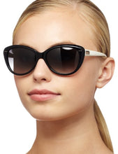 Load image into Gallery viewer, Kate Spade Women's ANGELIQS Cat Eye Sunglasses,Black & Cream Frame/Gray Gradient Lens,One Size