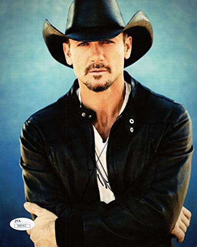 TIM MCGRAW HAND SIGNED 8x10 COLOR PHOTO HANDSOME COUNTRY SINGER - JSA Certified