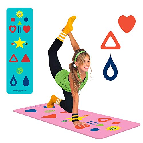 Pink Kids Yoga Mat - Phresh Chi Mat + Free Yoga App & How-To Poster - Exercise Game – Easy to Learn, Makes Yoga Fun - Helps Alignment, Flexibility, Weight-loss, and Mindfulness - Great for Kid, Family