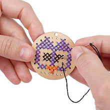 Load image into Gallery viewer, MindWare Make Your Own: Wood Cross-Stitch Jewelry Craft kit