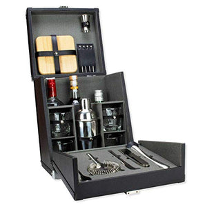 Atterstone 17-Piece Premium Travel Cocktail Set, Portable Bar-Ware Box Kit for Bartenders and Mixologists, Complete Bar Tool Accessories Kit for Hosting Serving and Entertaining