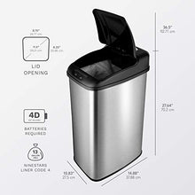 Load image into Gallery viewer, NINESTARS DZT-50-6 Automatic Touchless Infrared Motion Sensor Trash Can, 13 Gal 50L, Stainless Steel Base (Rectangular, Black Lid)