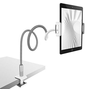 "Gooseneck Tablet Holder, Lamicall Tablet Stand: Flexible Arm Clip Tablet Mount Compatible with iPad Mini Pro Air, Nintendo Switch, Samsung Galaxy Tabs, Fire 8 10 More 4.7-10.5"" Devices - Gray"