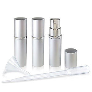 Refillable Glass Perfume & Cologne Fine Mist Atomizers with Metallic Exterior - Portable Travel Size - 3ml Squeeze Transfer Pipette Included - 3 Pc Pack of 5ml (Silver)