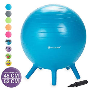 Gaiam Kids Stay-N-Play Children's Balance Ball - Flexible School Chair Active Classroom Desk Alternative Seating | Built-In Stay-Put Soft Stability Legs, Includes Air Pump, 45cm, Blue