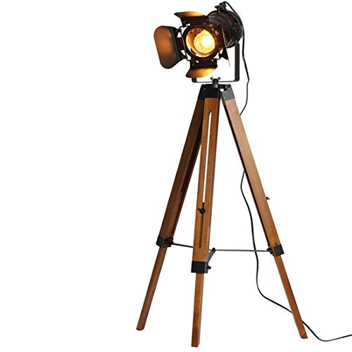 Tripod Floor Lamp Decorative Lamps Industrial Searchlight Table Lights Desk Spotlight,Vintage Metal Wood Studio Industrial Antique Rustic Camera Retro Modern Home Art Deco Props (Black)