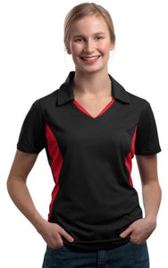 Sport-Tek Ladies Side Blocked Micropique Sport-Wick Polo - XXX-Large - Black/Red