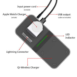 Mangotek Apple Watch Stand Wireless Charger for iPhone and iWatch, 4 in 1 Phone Charging Station with Lightning Connector and USB Port for iPhone 8/X/XR/7/6 and iWatch Series 4/3/2/1, MFi Certified