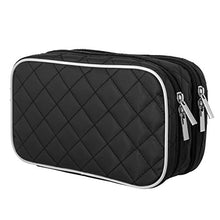 Load image into Gallery viewer, Ellis James Designs Travel Makeup Bag - Black - Make Up Travel Bag - Makeup Brush Case with Compartments Soft Padded Travel Jewelry Roll and Make Up Bags 2-in-1 Cosmetic Cases No Tangle Necklace Case