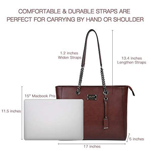 Laptop Bag for Women,15.6 in Spacious Laptop Tote Soft PU Leather Lightweight Multi-Compartment Work Tote with Comfortable Widen Straps