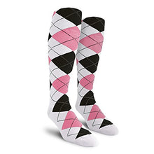 Load image into Gallery viewer, Argyle Golf Socks: Over-the-Calf - White/Pink/Black - Youth
