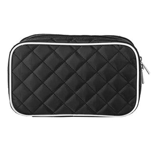 Ellis James Designs Travel Makeup Bag - Black - Make Up Travel Bag - Makeup Brush Case with Compartments Soft Padded Travel Jewelry Roll and Make Up Bags 2-in-1 Cosmetic Cases No Tangle Necklace Case