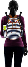 Load image into Gallery viewer, LISH Down The Line Canvas Tennis Racket Backpack - Women's Striped Print Drawstring Racquet Holder Bag (Navy Stripe)