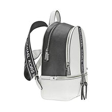 Load image into Gallery viewer, Michael Kors Rhea Medium Logo Tape Backpack OPTICWHT/BLK