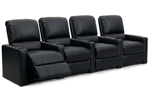 Octane Seating Charger XS300 Home Theater Chairs - Black Bonded Leather - Manual Recline - Row 4 Seats - Space Saving Design