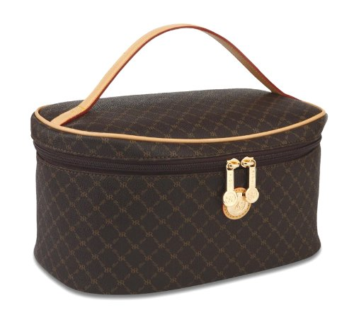 Signature Brown Cosmetic Carrier by Rioni Designer Handbags & Luggage