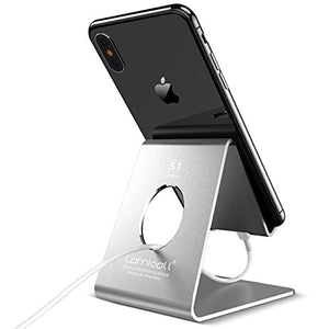 Cell Phone Stand, Lamicall Phone Stand : Cradle Dock Holder Compatible with All Android Smartphone, Phone 7 6 6s 8 X Plus 5 5s 5c XS Max XR Charging, Universal Accessories Desk - Silver