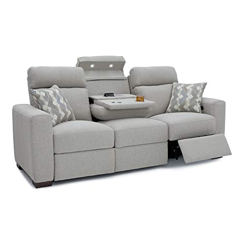 Seatcraft Capital Home Theater Seating Performance Fabric Power Recline Sofa with Adjustable Powered Headrests, Fold-Down Table with AC USB Wireless Charging, Cup Holders, Matching Pillows, Light Grey