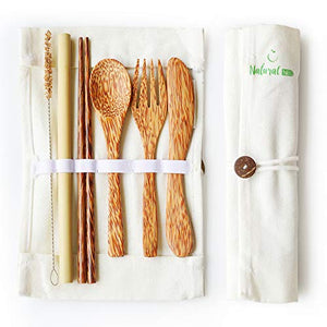 Coconut Travel Cutlery Set Wooden Utensils Reusable Organic Flatware Set