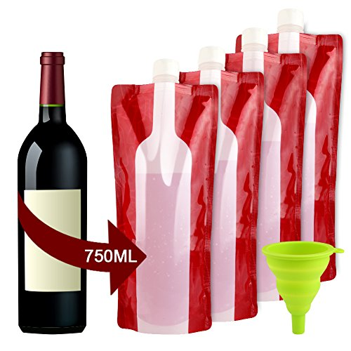Accmor Wine Bottle Bag Flask, Portable Wine Accessories, Reusable Flexible Collapsible Leek Proof Liquid Accessories for Gift Travel Camping BBQ Party Beach Hiking Home Kitchen