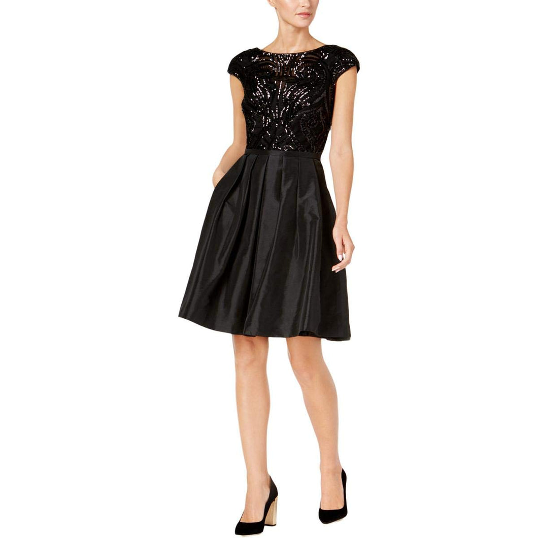 Calvin Klein Womens Embellished Cap Sleeves Party Dress Black 12