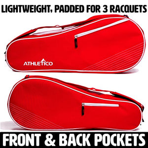 Athletico 3 Racquet Tennis Bag | Padded to Protect Rackets & Lightweight | Professional or Beginner Tennis Players | Unisex Design for Men, Women, Youth and Adults (Red)