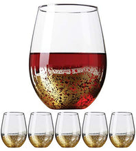 Load image into Gallery viewer, Gold Rimmed Stemless Wine Glasses, 18oz – Set of 6 Elegant Cocktail Tumblers – Premium Glass Drinking Cups – Deluxe Gift Pack - Dishwasher Safe – by Kitchen Lux