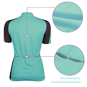 Beory Womens Cycling Jerseys with Short Sleeves,Girls Bike Short Sleeves with Three Pockets