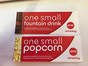 AMC Movie ticket set of 10 Small drink and 10 Small popcorn vouchers