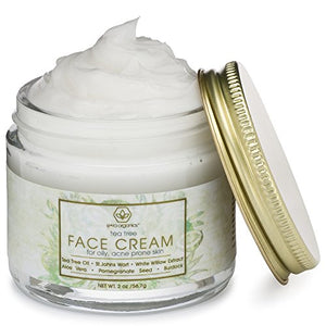 Tea Tree Oil Face Cream - For Oily, Acne Prone Skin 2oz Natural & Organic Facial Moisturizer
