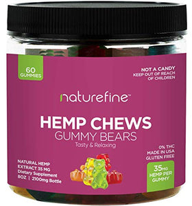 Hemp Gummies - Zero THC CBD Oil Cannabidiol - 2100 MG - 35 MG per Gummie - Hemp Oil for Pain Relief - Relieves Stress & Anxiety, Overall Health - Grown & Made in The USA