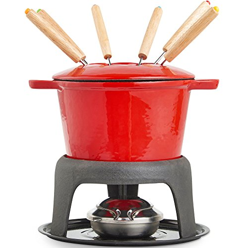 VonShef Fondue Set with 6 Fondue Forks, Stylish Cast Iron Porcelain Enamel Fondue Pot Makes All Styles of Fondue Such as Cheese and Chocolate, 1.6 QT Capacity, Red, 12pc Set