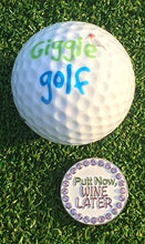 Load image into Gallery viewer, Giggle Golf Bling Putt Now, Wine Later Golf Ball Marker with A Standard Hat Clip