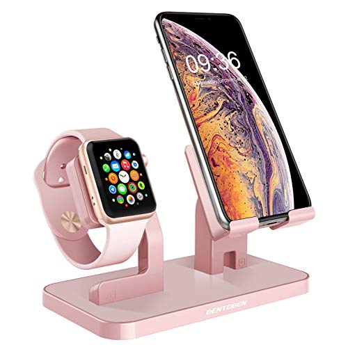 BENTOBEN Cell Phone Stand Compatible with Apple Watch iPhone Android Phone iPad Tablet, Charging Dock Station Holder for iWatch Series 4/3/2/1 iPhone Xs Max XS XR X 8 7 6S 6 Plus SE 5S 5, Rose Gold