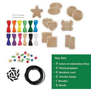 MindWare Make Your Own: Wood Cross-Stitch Jewelry Craft kit