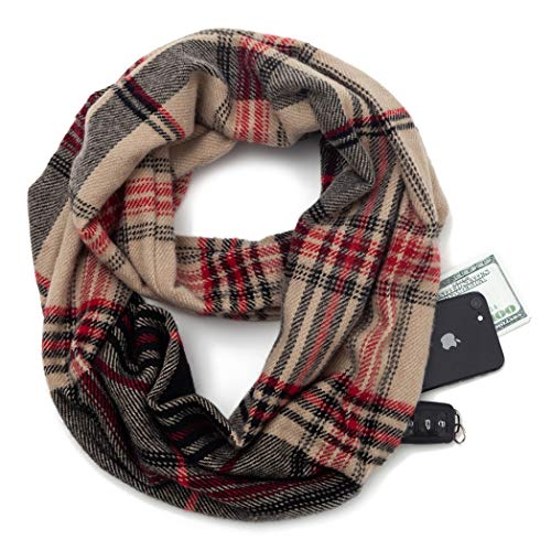Travel Scarf Infinity Plaid Tartan women knitting Infinity Scarves with Hidden Zipper Pocket (Z3-kk)
