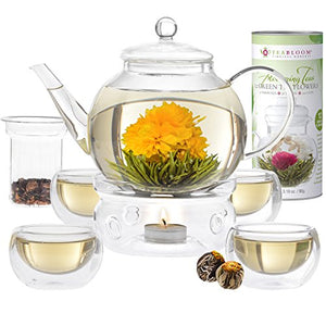 Teabloom Blooming Tea Set - Stovetop Safe Glass Teapot with 12 Flowering Teas, Tea Warmer, 4 Double Wall Teacups & Removable Glass Infuser for Loose Leaf Tea - Complete Flowering Tea Gift Set