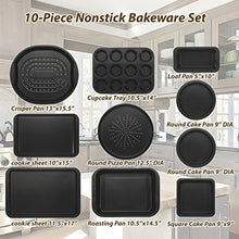 Load image into Gallery viewer, ChefLand 10-Pc. Nonstick Bakeware Set | Chef's Baking Sheets, Baking Pans, Roasting Pan, Pizza Pan, Crisper Pan, Cake Pans & More| Durable Carbon Steel Baking Set | Prime Housewarming & Wedding Gift